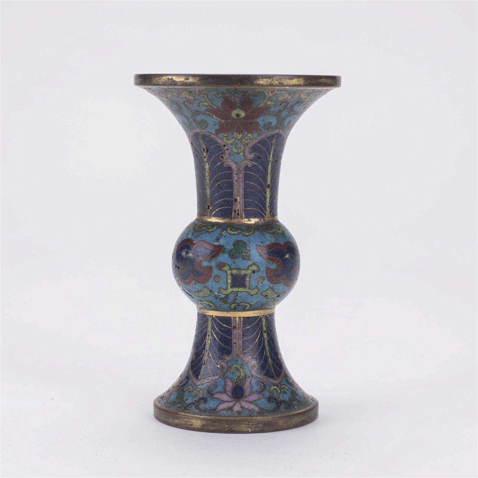 Chinese Cloisonne & Gilt Bronze Gu-Shaped Vase