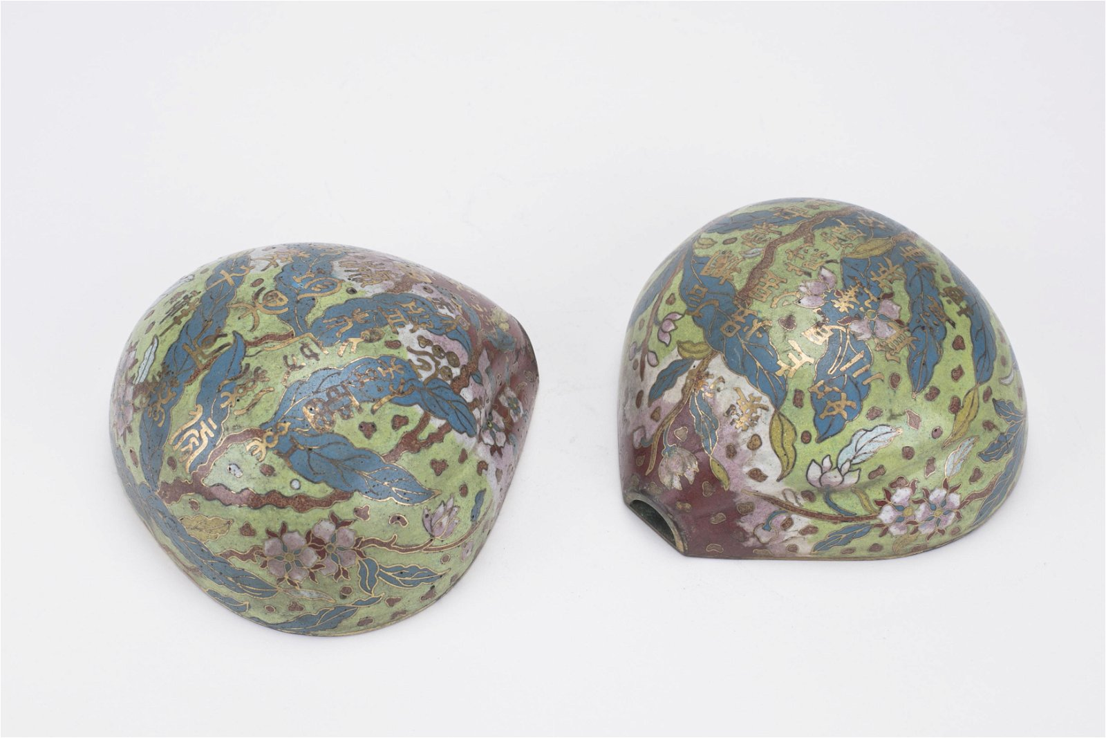 2 Chinese Cloisonne & Gilt Bronze Peach Wall Vases