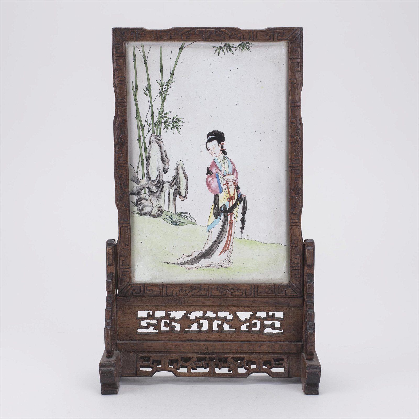 Chinese Canton Enamel Copper Plaque Table Screen