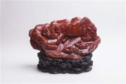 Chinese Amber Mountain with Hunting Horsemen