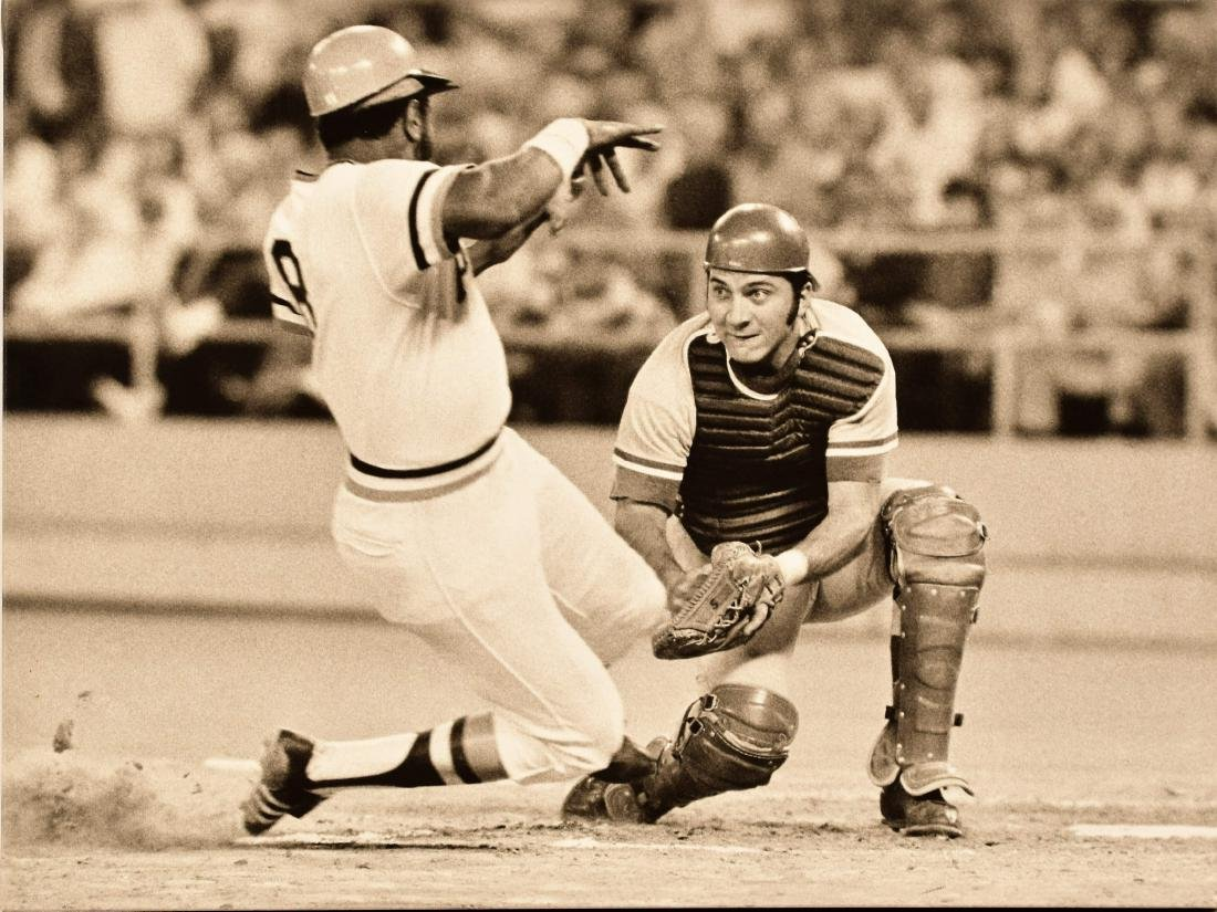 Johnny Bench Canvas - Out at the Plate