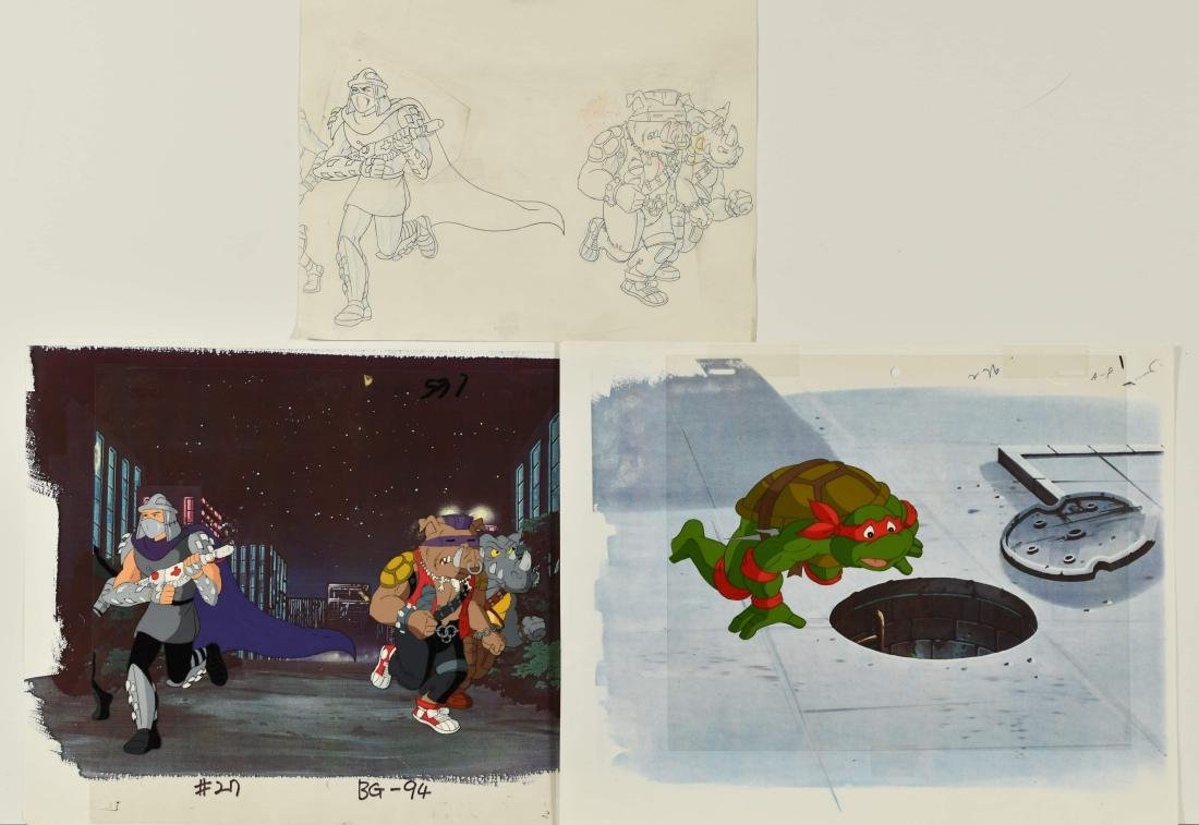 A Pair of (TMNT)Turtles Production Cels and Drawing