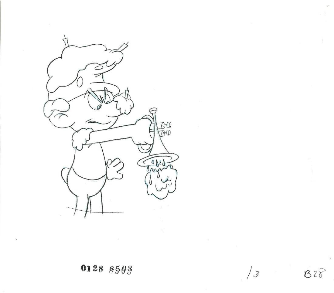 1980's Smurf Prod Cel/Drawing  in a Double Aperture - 3