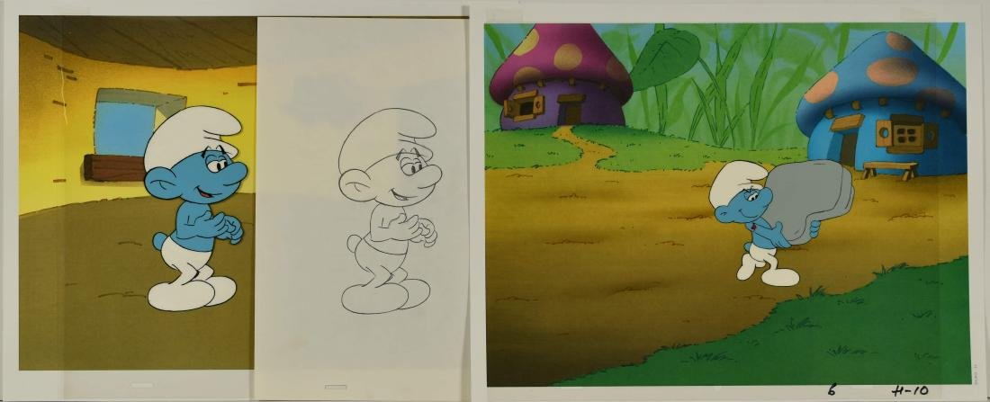 Pair of 1980's Smurf Prod Cels- Jokey and Hefty