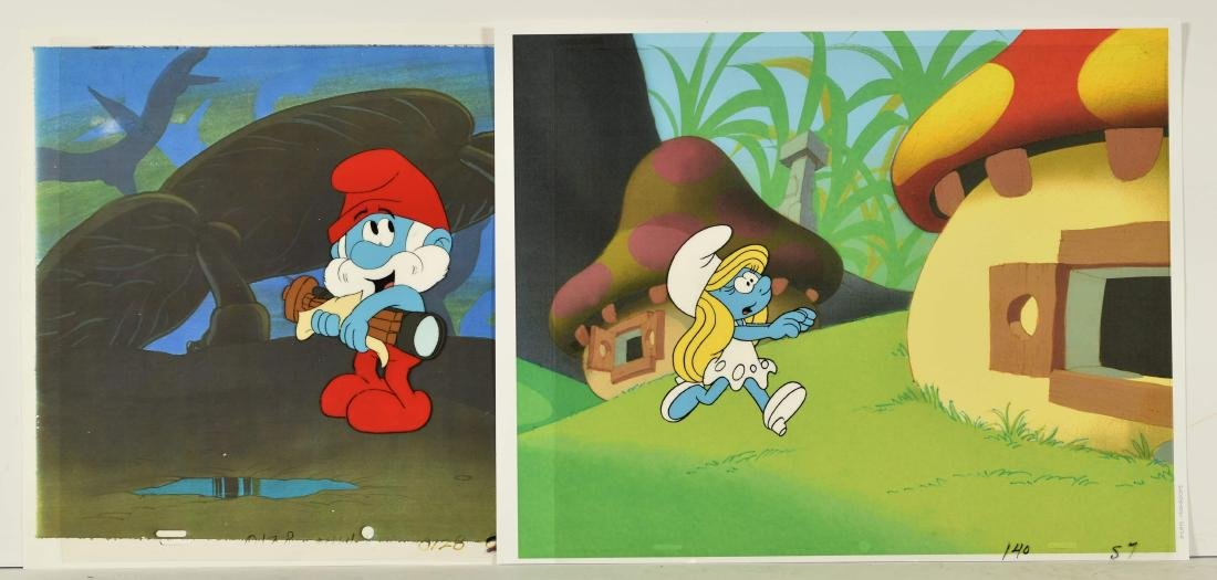 Pair of 1980's Smurf Prod Cels-Papa and Smurfette.