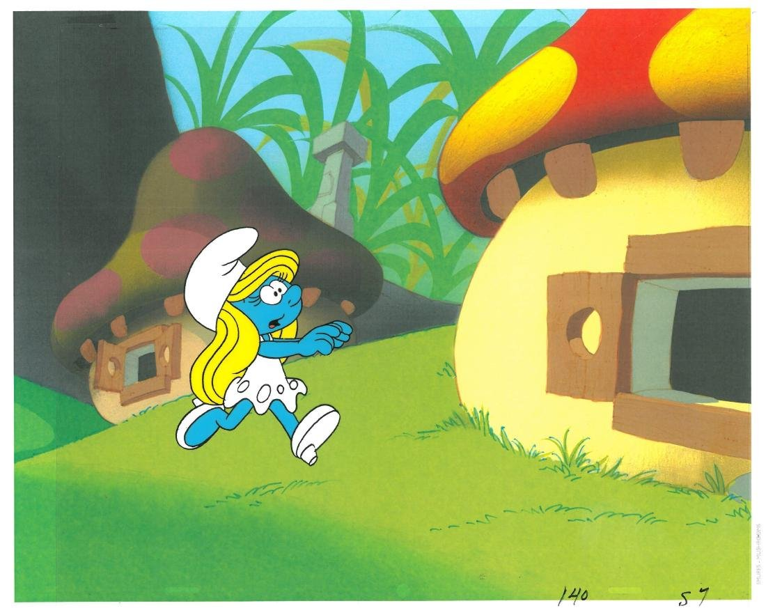 Pair of 1980's Smurf Prod Cels-Papa and Smurfette. - 3