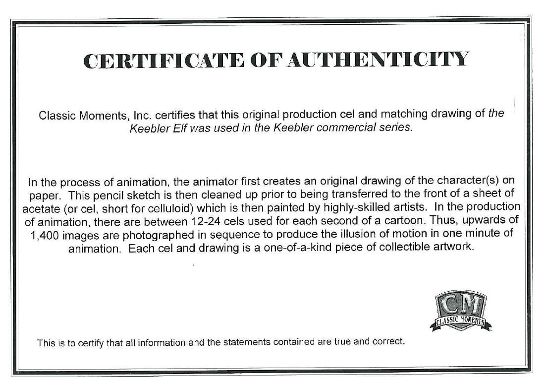 Keebler Elves Production Cel and Drawing featured in a - 3