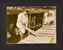 Babe Ruth in Dugout Fuji Crystal Matted Photo
