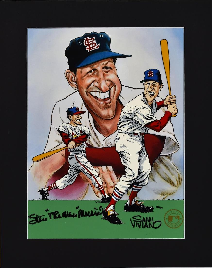 Stan Musial signed L.E. Hand-Painted Cel