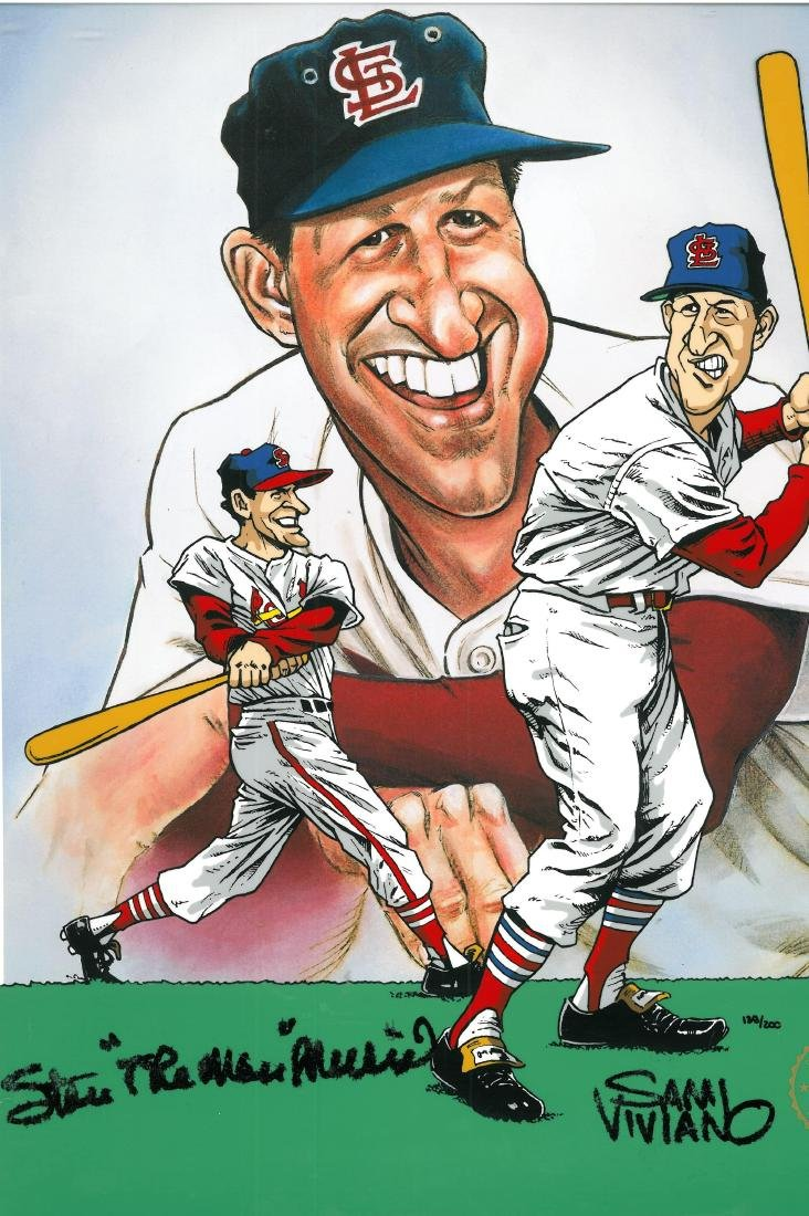 Stan Musial signed L.E. Hand-Painted Cel - 2