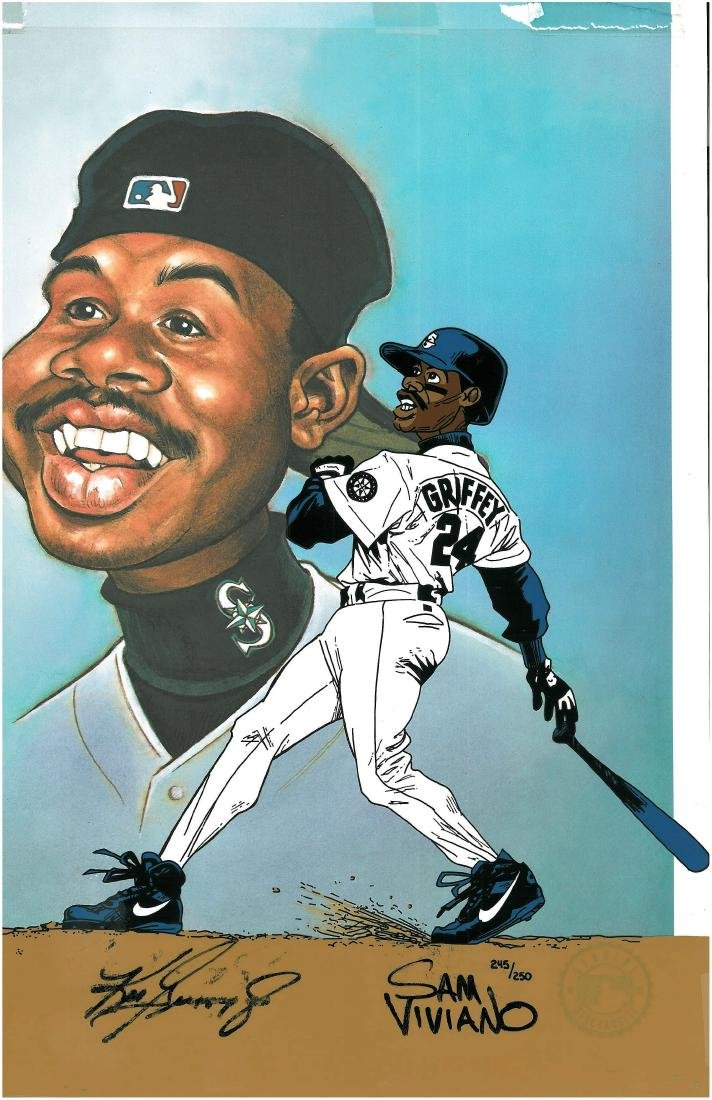 Ken Griffey Jr. signed L.E. Hand-Painted Cel created - 3