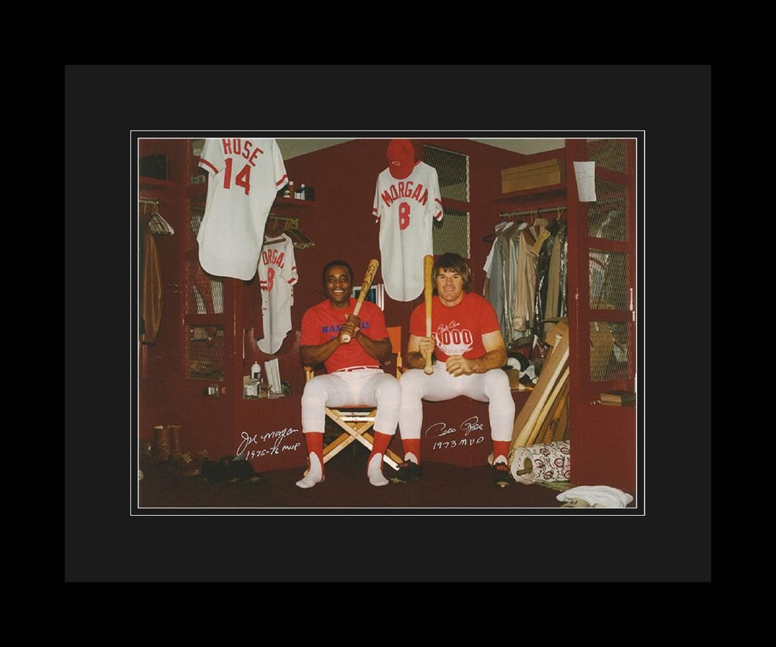 Signed - Pete Rose & Joe Morgan in Clubhouse