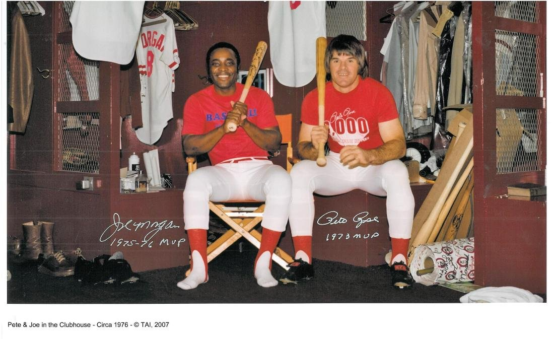 Signed - Pete Rose & Joe Morgan in Clubhouse - 2