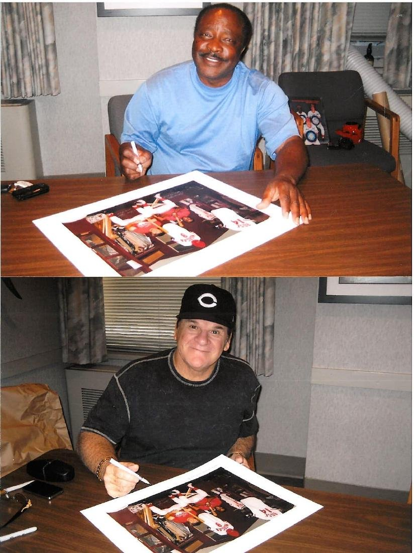 Signed - Pete Rose & Joe Morgan in Clubhouse - 3
