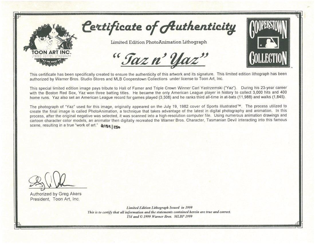 Carl Yastrzemski Signed Warner Bros. L.E. Litho-Taz N' - 5