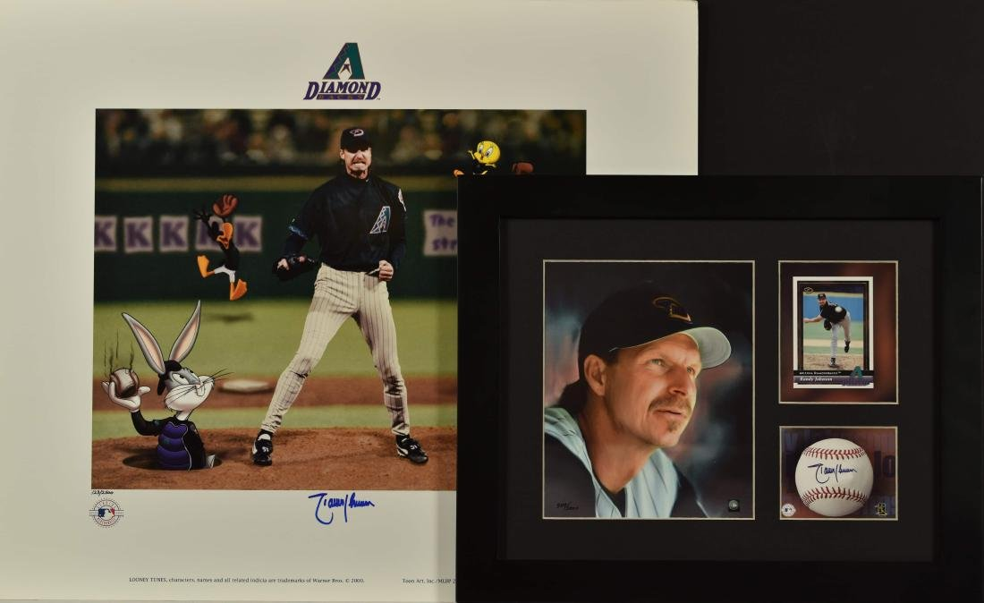 Signed Randy Johnson Warner Bros LE & Matted Lithograph