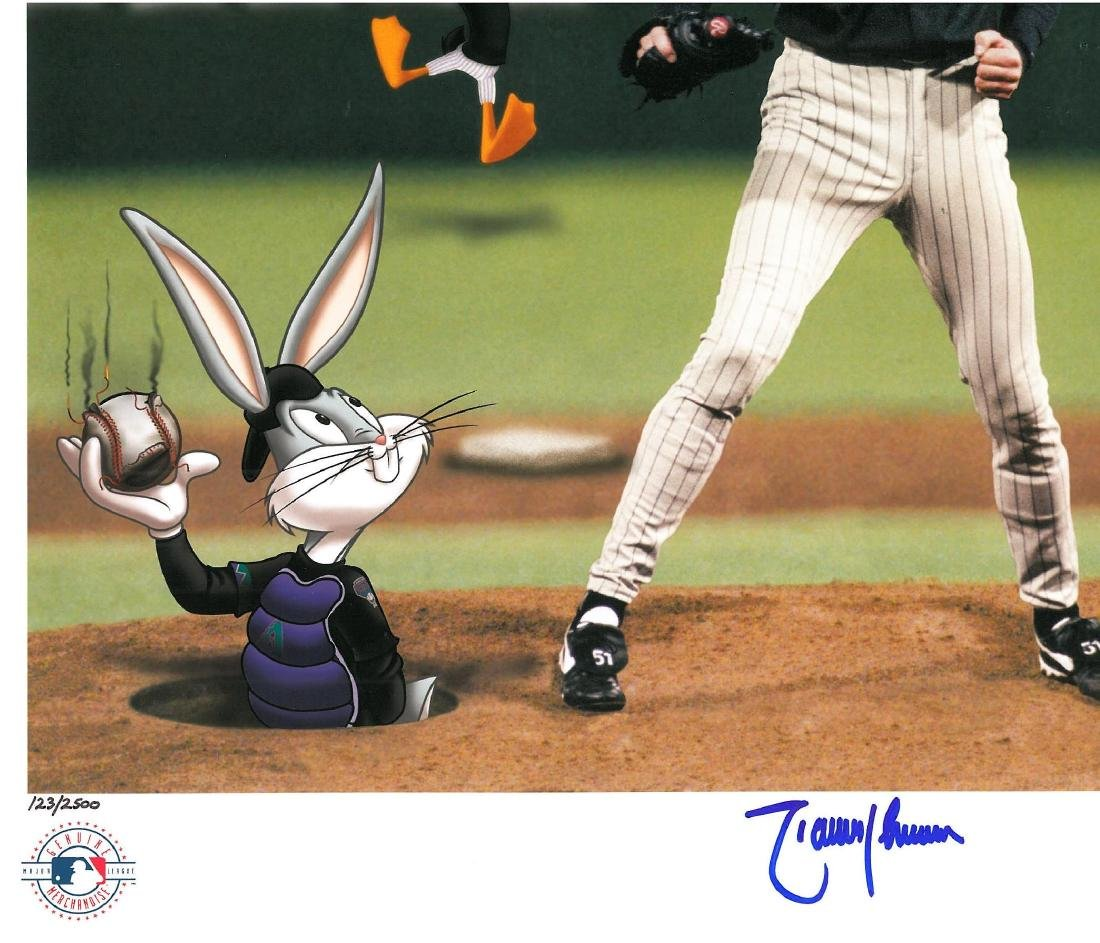 Signed Randy Johnson Warner Bros LE & Matted Lithograph - 2