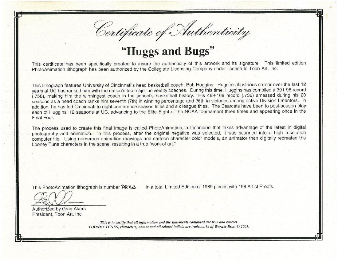 Warner Bros. UC Bearcats LE. Litho with Bob Huggins - 3