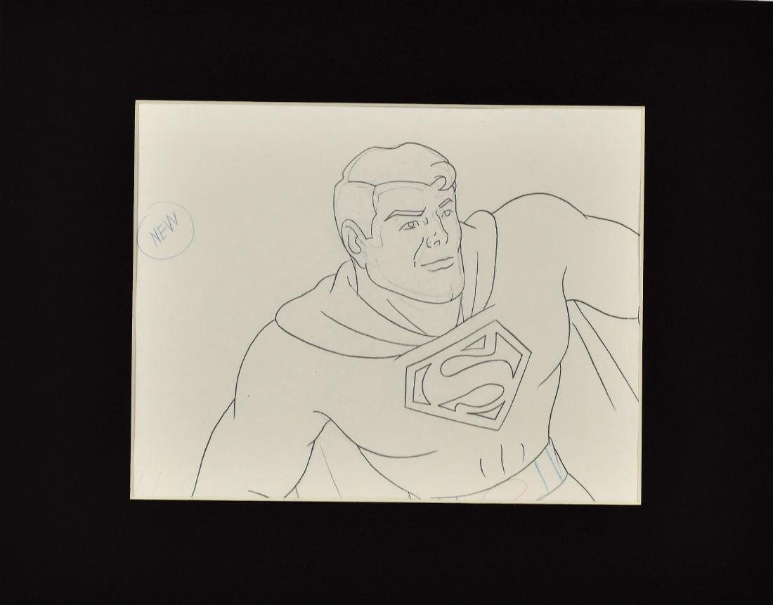 Superfriends Production Drawing of Superman Matted