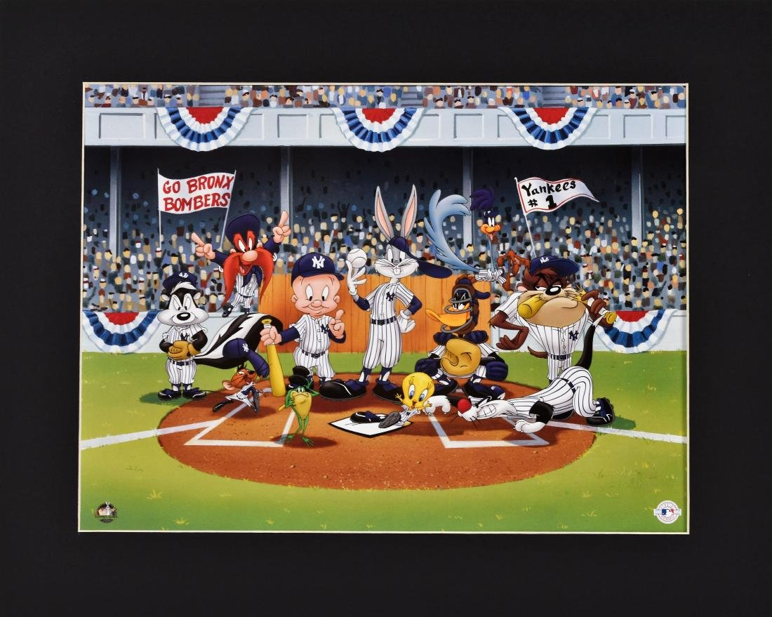Warner Bros. Lithograph -Line Up at the Plate -Yankees