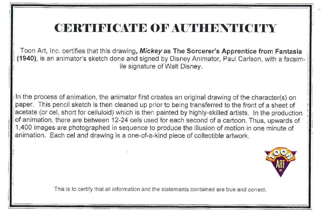 Mickey Sorcerer's Apprentice sketch signed animator - 3