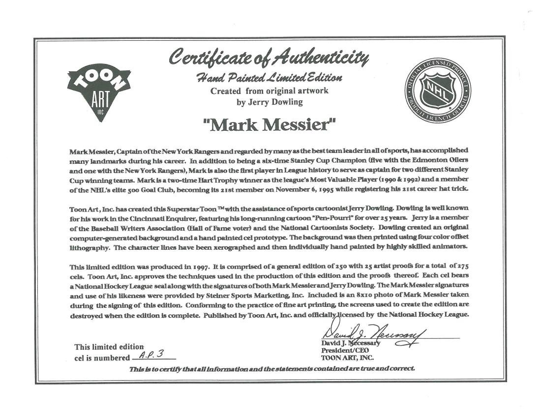 NY Ranger-Mark Messier signed LE HP Cel - 4