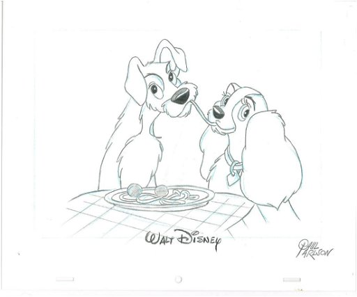 Lady The Tramp Sketch Signed Disney Animator Paul Jun 18 2018 Classic Moments In Oh