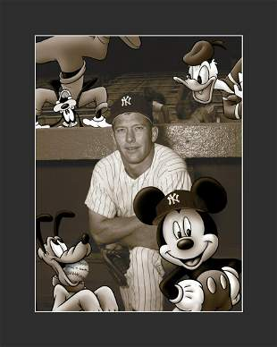 Mickey Mantle and Mickey Mouse Archival Photograph