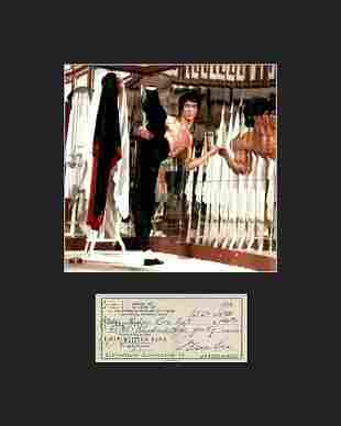 Bruce Lee Photo with Reproduction Check Matted - NEW