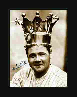 Babe Ruth Matted Archival Photograph with Facsimile