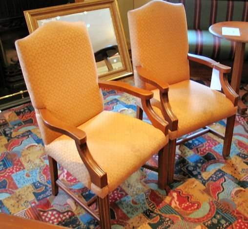 17: PAIR SOLID WOODEN FRAME CARVER CHAIRS