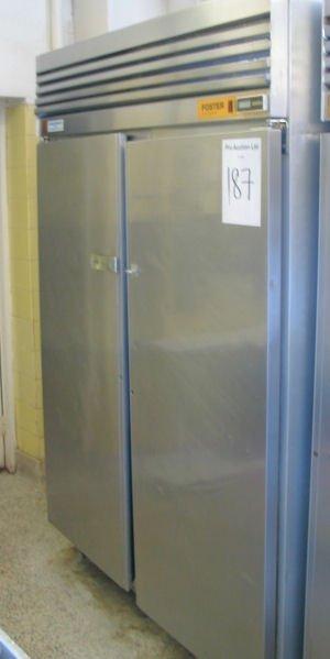 187: FOSTER UPRIGHT TWIN DOOR STAINLESS STEEL REFRIGERA