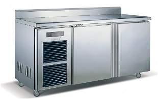 2 Door Stainless Steel Counter Fridge 0 to 10°C 910x