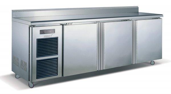 9: 3 Door Stainless Steel Counter Fridge 0 to 10°C 910x