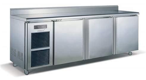 106: 3 Door Stainless Steel Counter Fridge 0 to 10°C 91