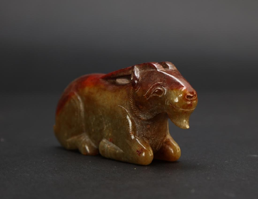CHINESE JADE CARVED SHEEP - 2