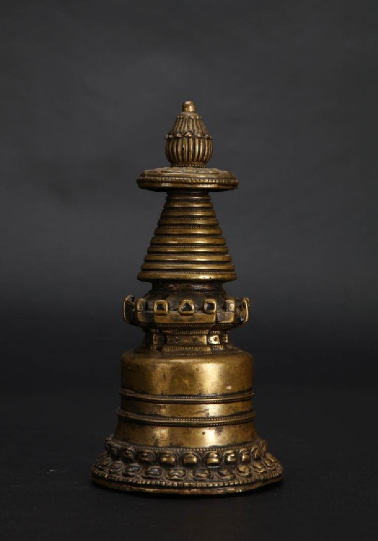 A TIBET COPPER ALLOY STUPA