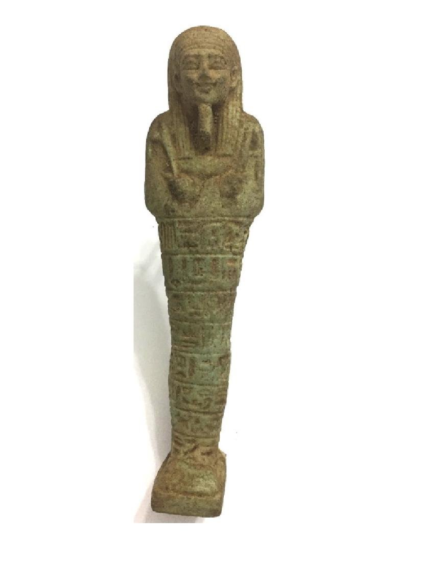 Ancient Egyptian Late Period green Faience Ushabti