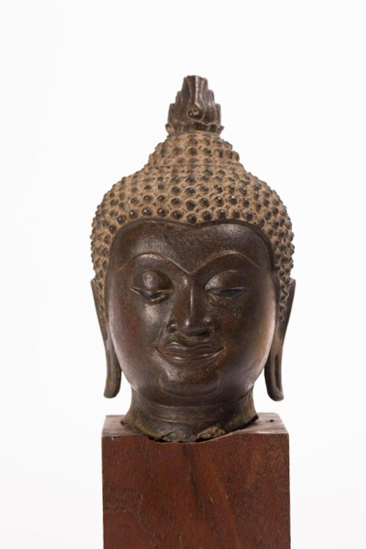 A LARGE BRONZE HEAD OF BUDDHA, AYUTTHAYA PERIOD