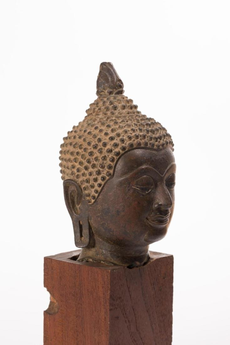 A LARGE BRONZE HEAD OF BUDDHA, AYUTTHAYA PERIOD - 2