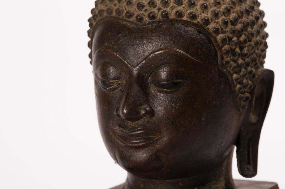 A LARGE BRONZE HEAD OF BUDDHA, AYUTTHAYA PERIOD - 5