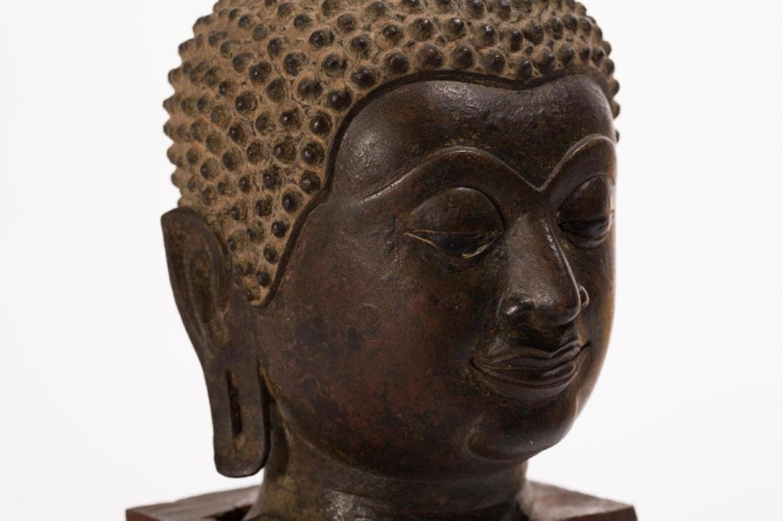 A LARGE BRONZE HEAD OF BUDDHA, AYUTTHAYA PERIOD - 6