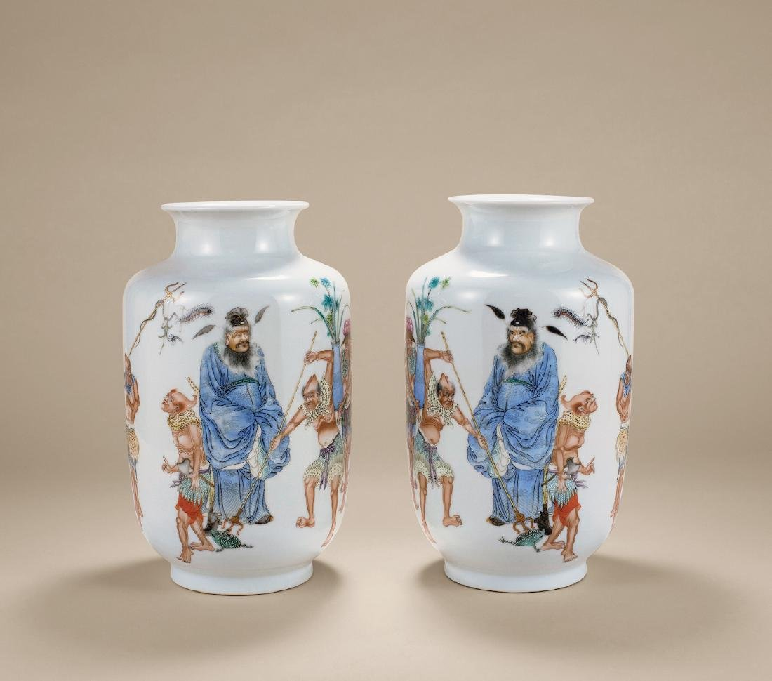 PAIR OF REPUBLIC PERIOD FAMILLE ROSE VASES