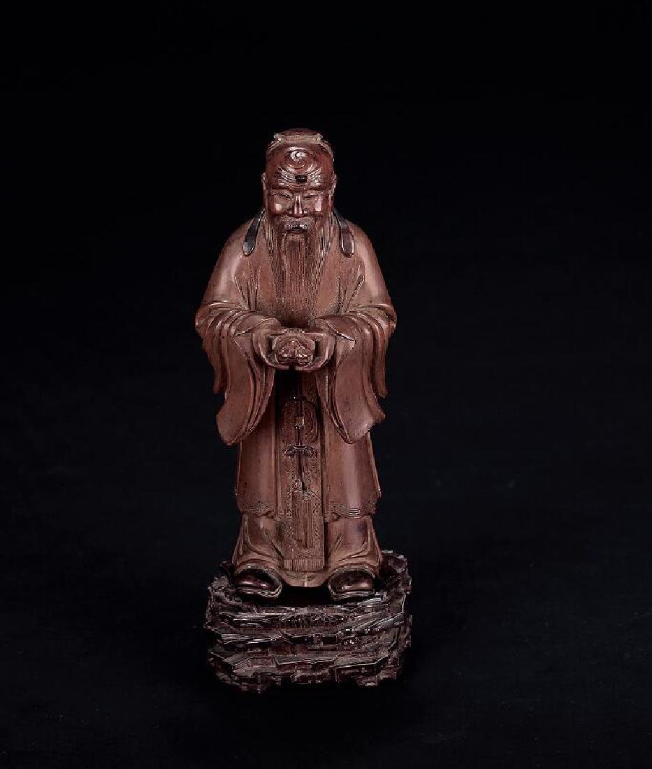 CHINESE HARDWOOD CARVED FIGURINE