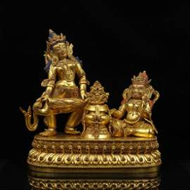 CHINESE GILT BRONZE BUDDHIST FIGURINES
