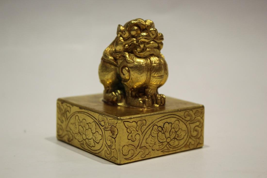 CHINESE GILT BRONZE FOOLION SEAL