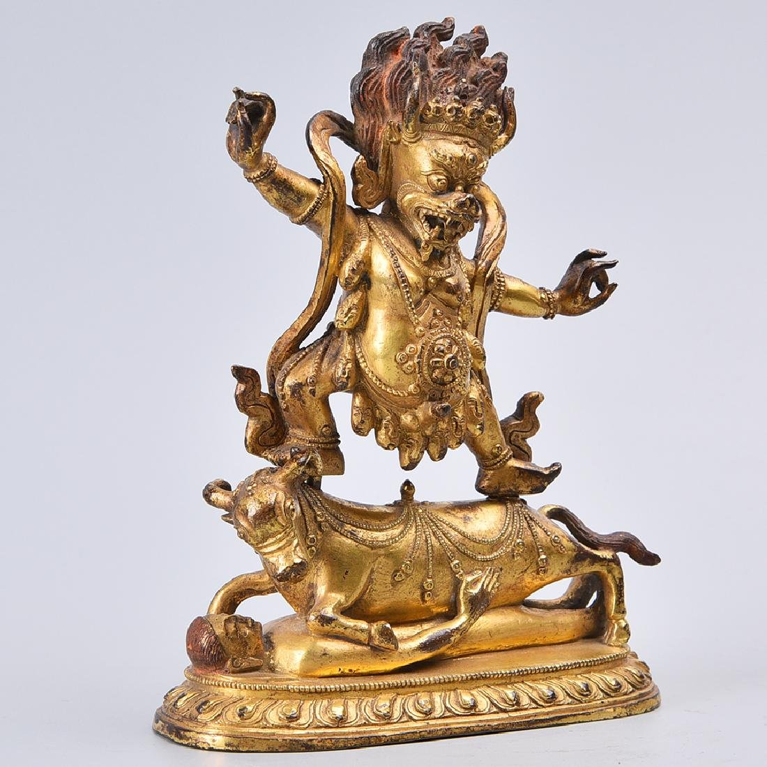 CHINESE GILT BRONZE FIGURE OF MAHAKALA - 3