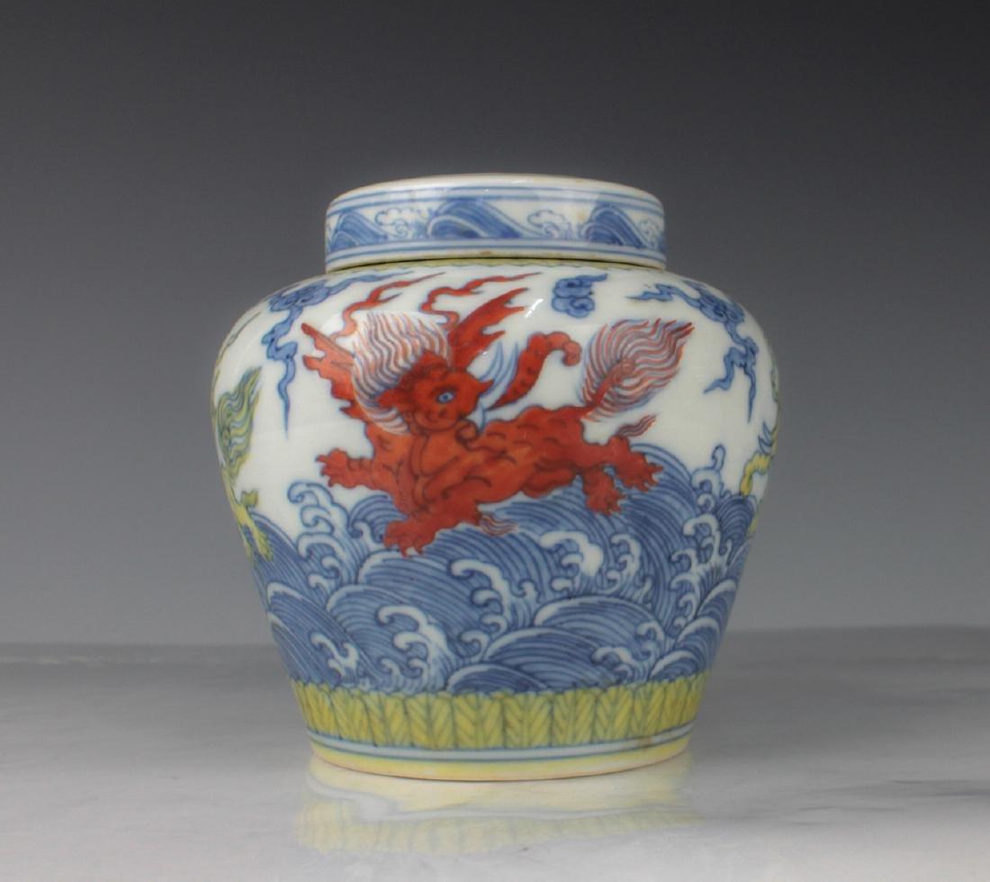 CHINESE BLUE WHITE WUCAI PORCELAIN JAR
