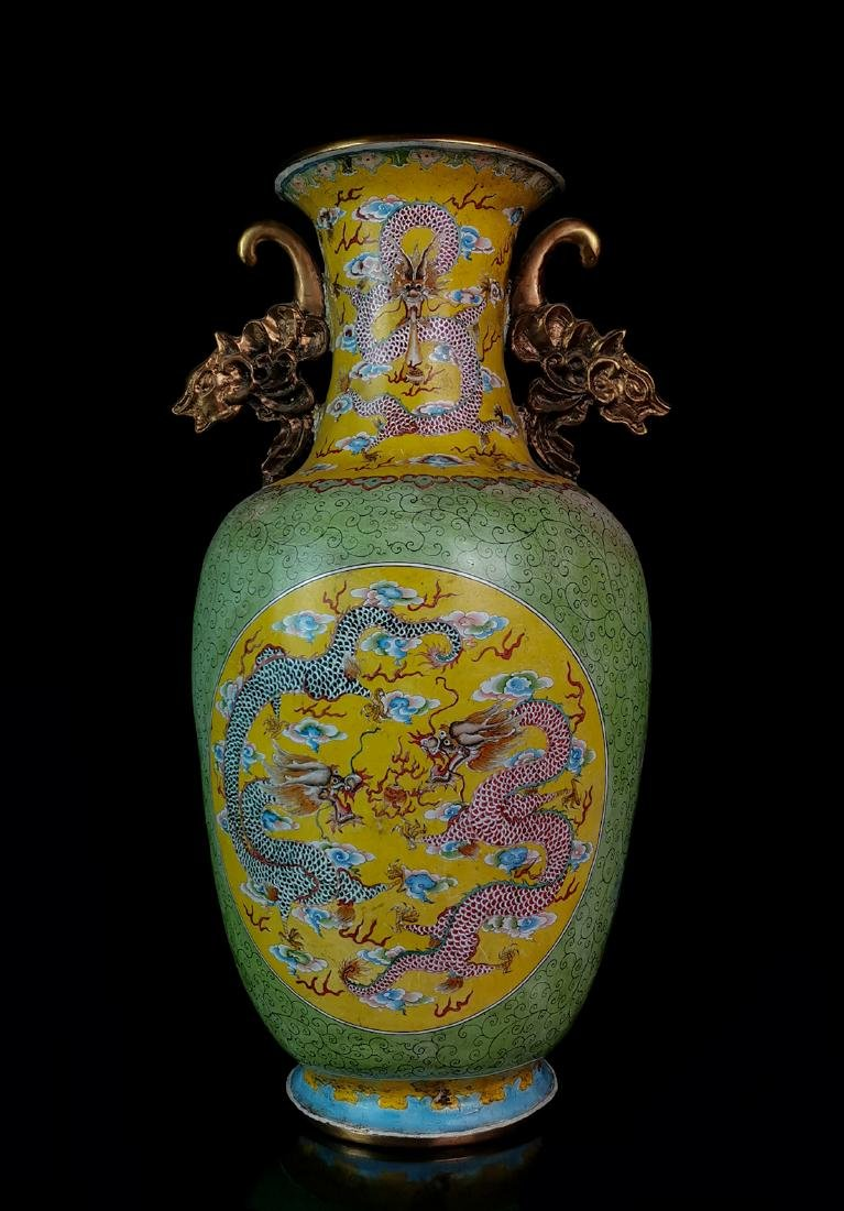CHINESE CLOISONNE DRAGON VASE W. MARK