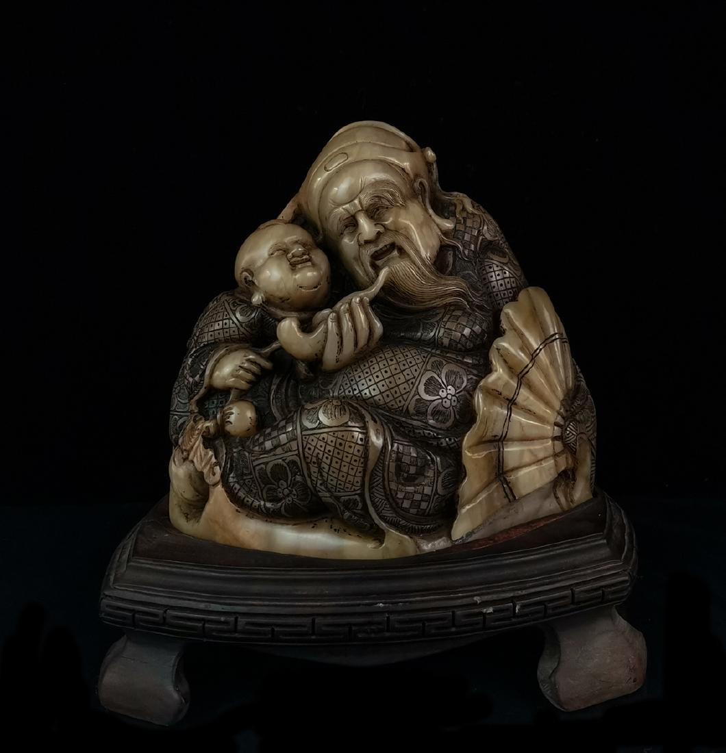 CHINESE SOAPSTONE CARVED FIGURE
